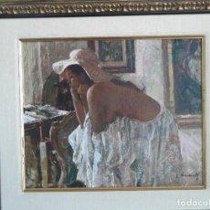 Arte: MUJER CON SOMBRERO. Lote 135895246