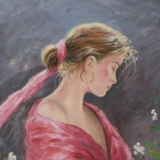 Arte: A WALK AMONG ROSES - PINTURA AL OLEO SOBRE LIENZO - 55X46 CM.. Lote 135935362