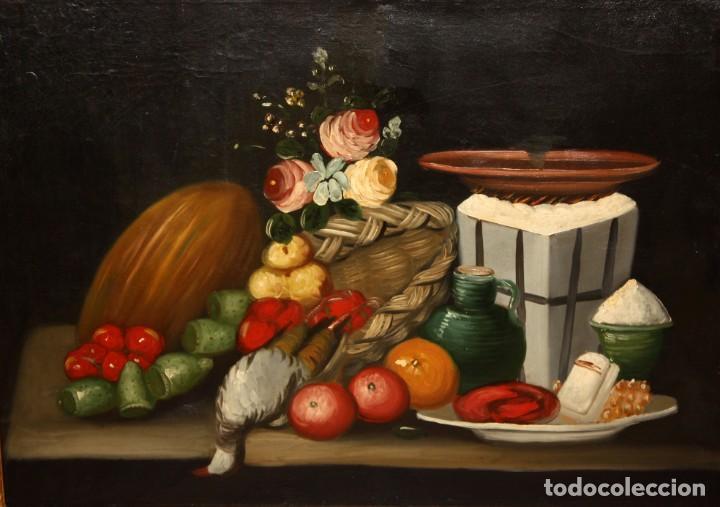 ESCUELA ESPAÑOLA DE SIGLO XVIII. OLEO SOBRE TELA DE AUTOR ANONIMO. NATURALEZA MUERTA (Arte - Pintura - Pintura al Óleo Antigua siglo XVIII)