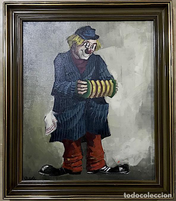 OLEO SOBRE LIENZO REPRESENTA UN PAYASO CON ACORDEÓN (Arte - Pintura - Pintura al Óleo Contemporánea )