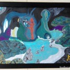 Arte: ANTONI MARTÍ (SEUDÓNIMO, CASSERRES 1960). ÓLEO COLLAGE SOBRE CARTULINA - ENMARCADO CRISTAL 46 X 34. Lote 136062226