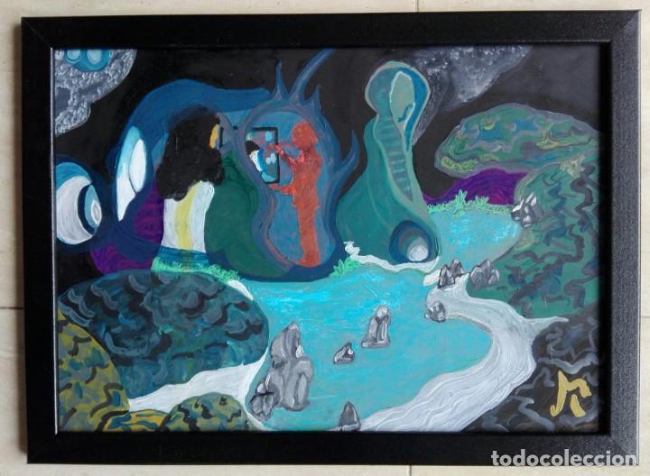 Arte: ANTONI MARTÍ (SEUDÓNIMO, CASSERRES 1960). ÓLEO COLLAGE SOBRE CARTULINA - ENMARCADO CRISTAL 46 X 34 - Foto 2 - 136062226