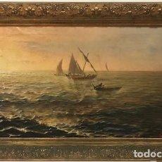 Arte: LEOPOLD ROCA I FURNÓ: CREPÚSCULO EN ALTA MAR 1905 ÓLEO/TELA 70 X 40. Lote 136103122