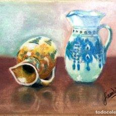 Arte: BODEGÓN CON JARRONES FIRMADO Y FECHADO. Lote 136467234