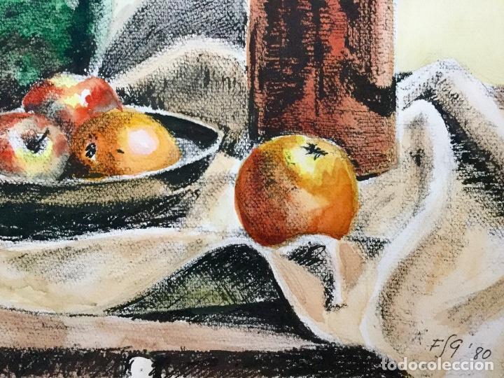 Arte: Magnífico bodegón del acuarelista y dibujante FRANCESC SANDIUMENGE I GAY ( 1930-2017) - Foto 6 - 136471758