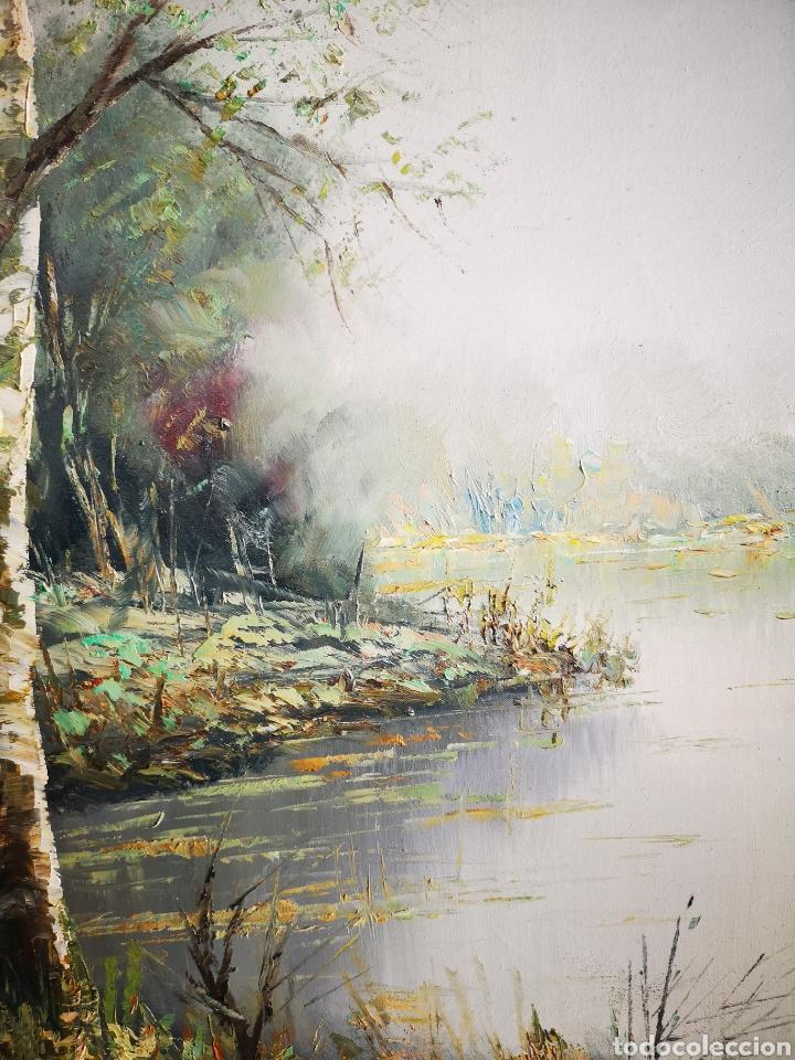 Arte: J. CANO (S.XX) , PAISAJE CON RIO, BUENA CALIDAD, FIRMADO Y ENMARCADO. TOTAL 75x85CM - Foto 7 - 136597012