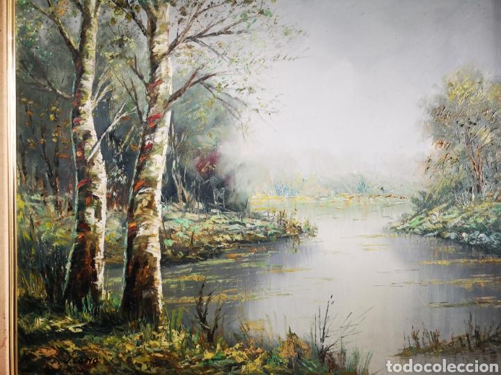 Arte: J. CANO (S.XX) , PAISAJE CON RIO, BUENA CALIDAD, FIRMADO Y ENMARCADO. TOTAL 75x85CM - Foto 9 - 136597012