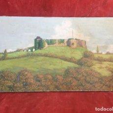 Arte: PINTURA OLEO SOBRE LIENZO PAISAJE CASTILLO RUINAS EN ALTO DE COLINA FIRMA SCHNEIDER BORDACARE 33X55C. Lote 136618190