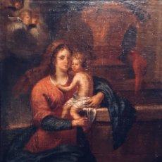 Arte: ÓLEO SOBRE LIENZO. ESCUELA ESPAÑOLA S.XVIII VIRGEN CON EL NIÑO. 58X44CM. Lote 136753049