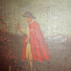 Arte: PEQUEÑO CUADRO CABALLERO CON CAPA ANTIGUA PINTURA OLEO EN LIENZO SIGLO XVIII . XVII. Lote 136821742