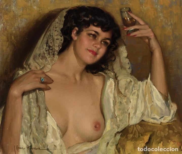Arte: JOSÉ CRUZ HERRERA . Magnífico Óleo sobre lienzo Firmado. Gran Retrato femenino desnudo - Foto 6 - 64028379