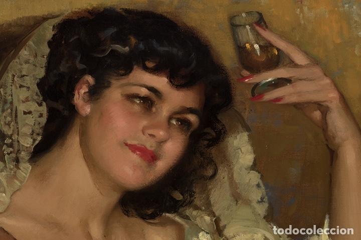 Arte: JOSÉ CRUZ HERRERA . Magnífico Óleo sobre lienzo Firmado. Gran Retrato femenino desnudo - Foto 9 - 64028379