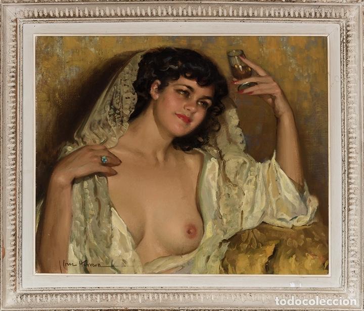 Arte: JOSÉ CRUZ HERRERA . Magnífico Óleo sobre lienzo Firmado. Gran Retrato femenino desnudo - Foto 5 - 64028379