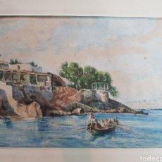 Arte: MARINA VISTA DE MALLORCA POR ANTONIO RIBAS OLIVER. Lote 137167366