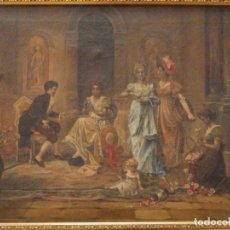Arte: ESCENA COSTUMBRISTA. ÓLEO SOBRE LLIENZO. OBRA ORIGINAL Y FIRMADA POR MERCEDES CALABIA 1919. . Lote 137171602