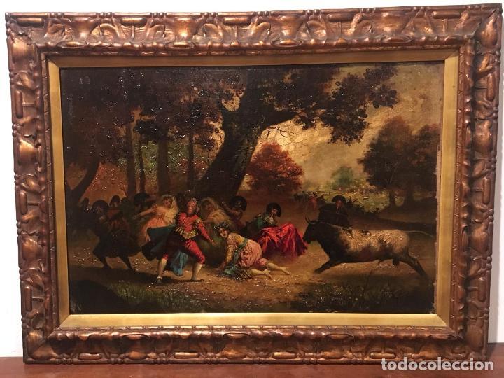 ANTIGUO OLEO DE ESCENA TAURINA. A EXPERTIZAR, DEL DISCIPULO DE GOYA EUGENIO LUCAS VILLAAMIL. (Arte - Pintura - Pintura al Óleo Moderna siglo XIX)