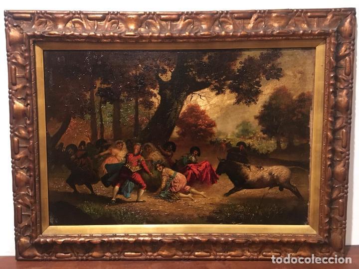 Arte: Antiguo oleo de escena taurina. A expertizar, del Discipulo de Goya Eugenio Lucas Villaamil. - Foto 2 - 137186150