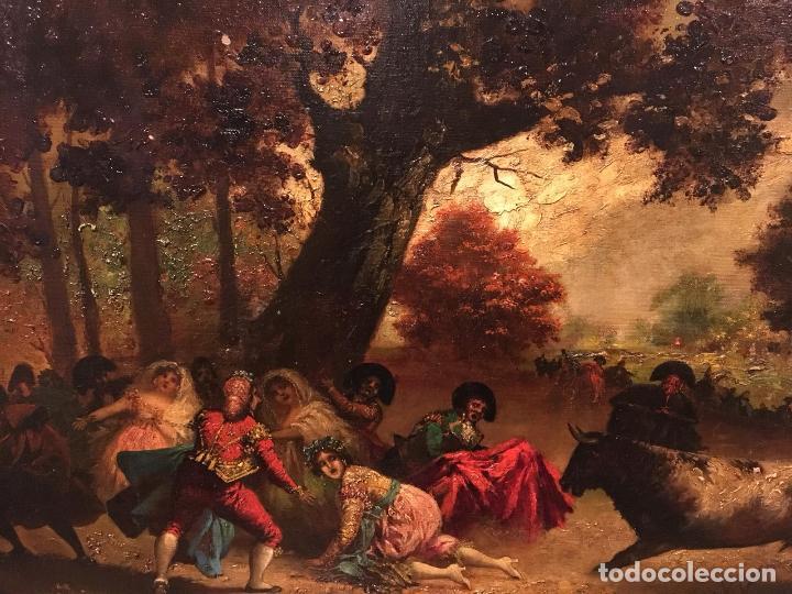 Arte: Antiguo oleo de escena taurina. A expertizar, del Discipulo de Goya Eugenio Lucas Villaamil. - Foto 6 - 137186150
