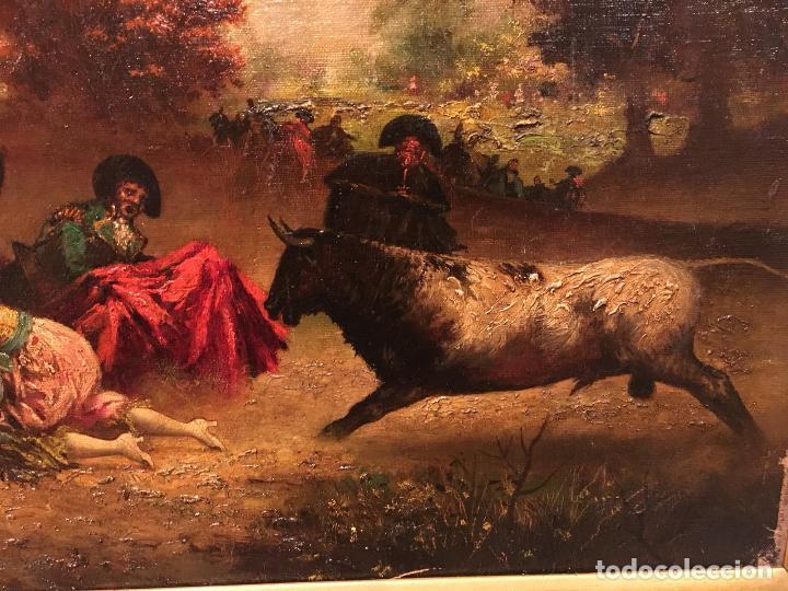 Arte: Antiguo oleo de escena taurina. A expertizar, del Discipulo de Goya Eugenio Lucas Villaamil. - Foto 7 - 137186150