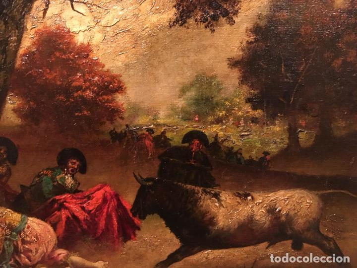 Arte: Antiguo oleo de escena taurina. A expertizar, del Discipulo de Goya Eugenio Lucas Villaamil. - Foto 8 - 137186150