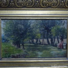 Arte: ÓLEO SOBRE CARTULINA DE PERE BORRELL DEL CASO(PUIGCERDA1835-BARCELONA 1910).EXCELENTE OBRA.. Lote 137252530