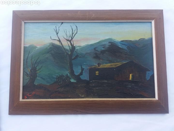 Arte: Pareja cuadro antiguo de pintura a mano sobre tabla firmados con marco madera Gitanos viajeros - Foto 5 - 137278185