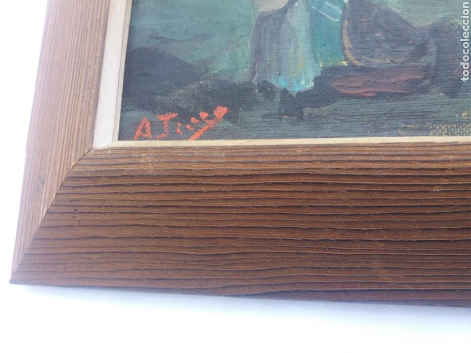 Arte: Pareja cuadro antiguo de pintura a mano sobre tabla firmados con marco madera Gitanos viajeros - Foto 7 - 137278185