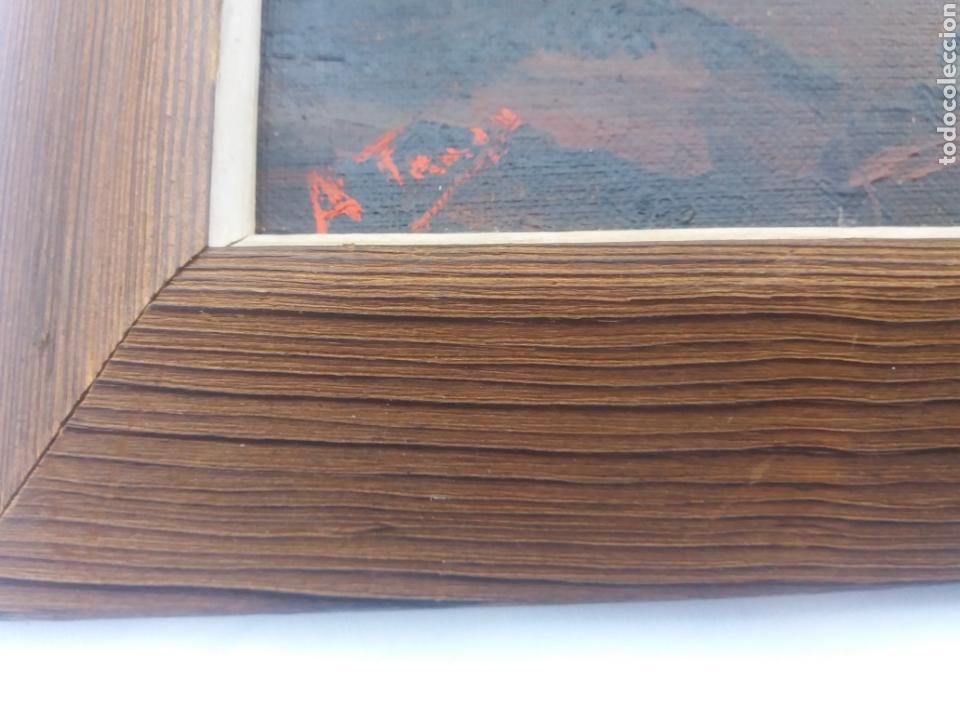 Arte: Pareja cuadro antiguo de pintura a mano sobre tabla firmados con marco madera Gitanos viajeros - Foto 8 - 137278185