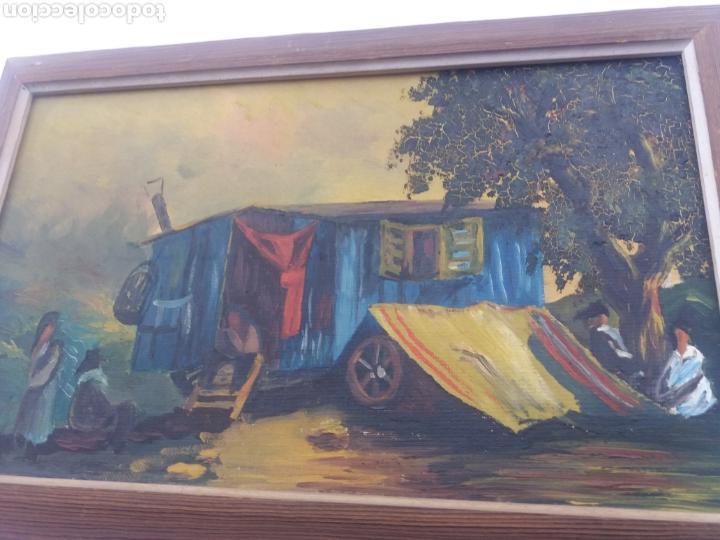 Arte: Pareja cuadro antiguo de pintura a mano sobre tabla firmados con marco madera Gitanos viajeros - Foto 3 - 137278185