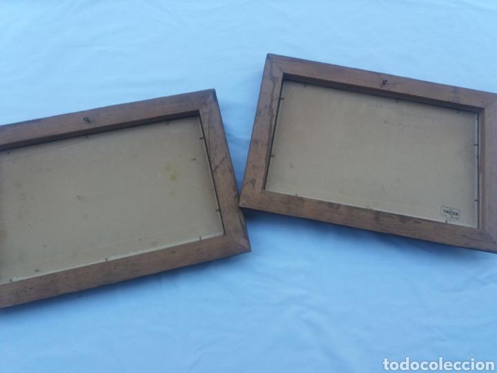 Arte: Pareja cuadro antiguo de pintura a mano sobre tabla firmados con marco madera Gitanos viajeros - Foto 6 - 137278185