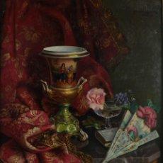 Arte: JOSÉ MONCADA CALVACHE (ALMERÍA, 1893-1988) ÓLEO SOBRE LIENZO BODEGÓN FIRMADO. Lote 137335766