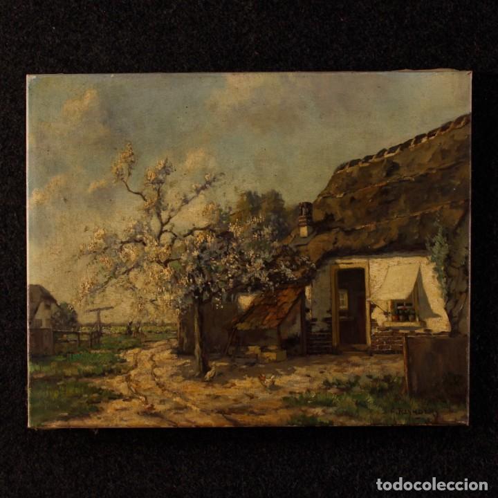PINTURA AL ÓLEO SOBRE LIENZO CON PAISAJE DEL SIGLO XX (Arte - Pintura - Pintura al Óleo Antigua sin fecha definida)