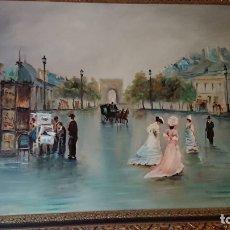 Arte: OLEO TEMA PARISINO VILLARUBIA CRAN TAMAÑO. Lote 137338730
