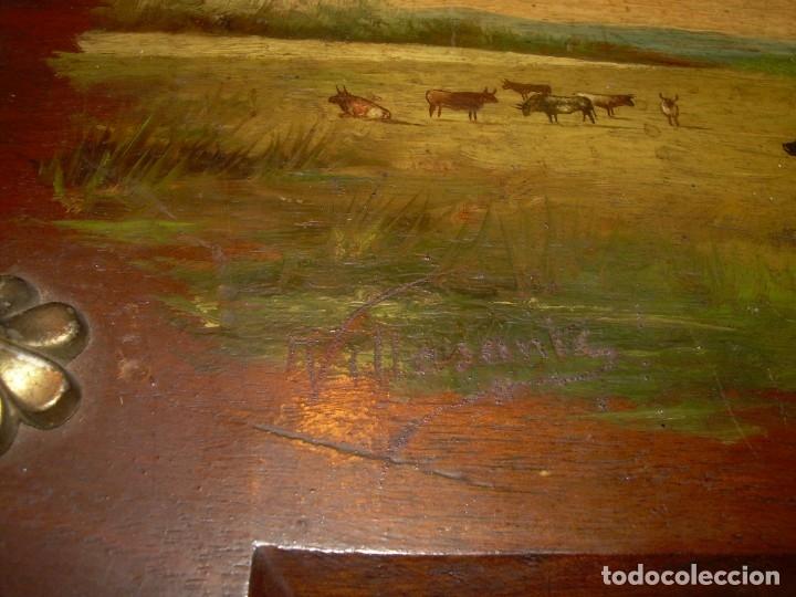 Arte: OLEO SOBRE TABLA ESCENA GOYESCA...FIRMADO POR EL PRESTIGIOSO PINTOR...VILLASANTE...SIGLO XIX. - Foto 5 - 137421230