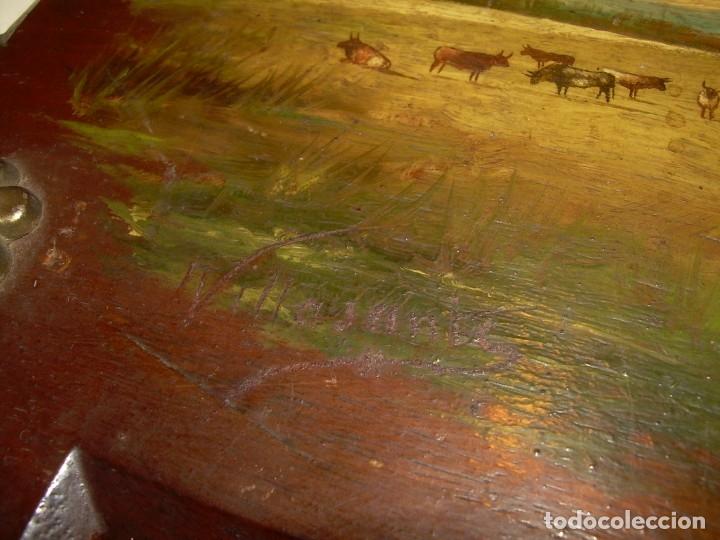 Arte: OLEO SOBRE TABLA ESCENA GOYESCA...FIRMADO POR EL PRESTIGIOSO PINTOR...VILLASANTE...SIGLO XIX. - Foto 7 - 137421230