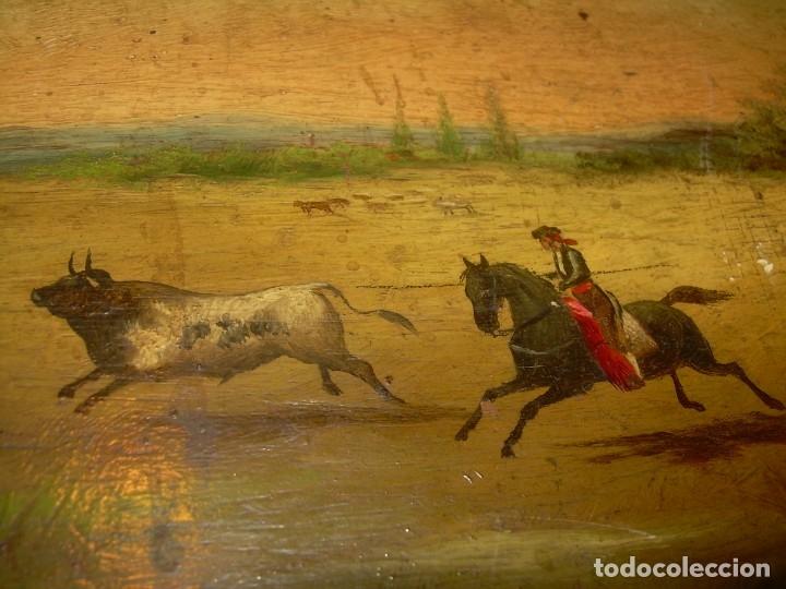 Arte: OLEO SOBRE TABLA ESCENA GOYESCA...FIRMADO POR EL PRESTIGIOSO PINTOR...VILLASANTE...SIGLO XIX. - Foto 9 - 137421230