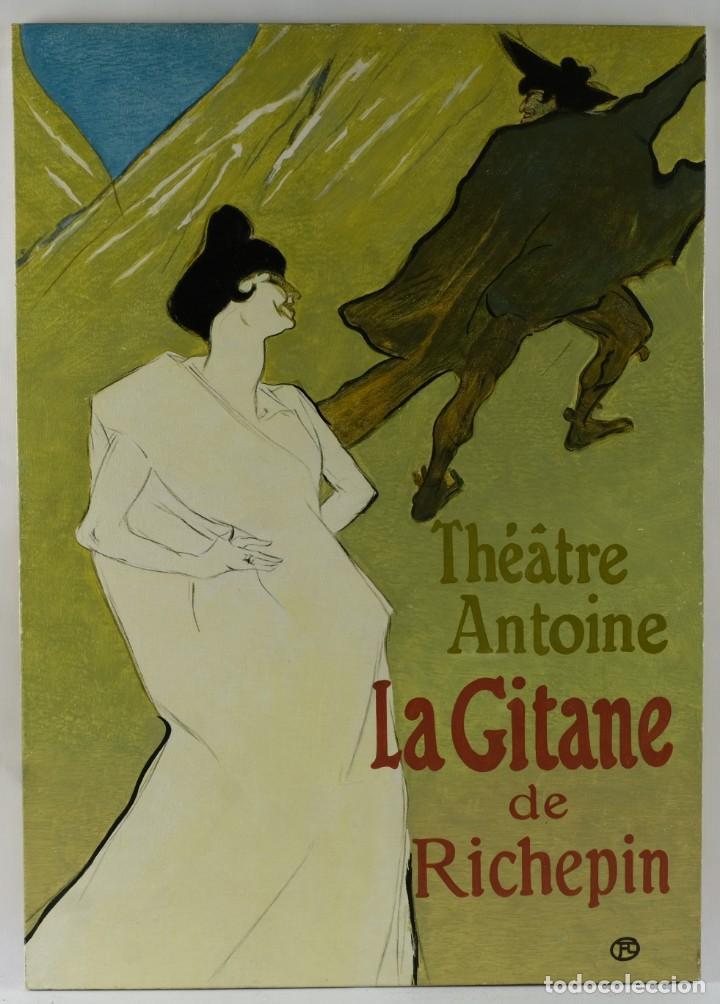 Arte: Óleo sobre táblex copia de un cuadro de Toulouse Lautrec ThéAâtre Antoine La Gitane de Richepin S.XX - Foto 2 - 137437002