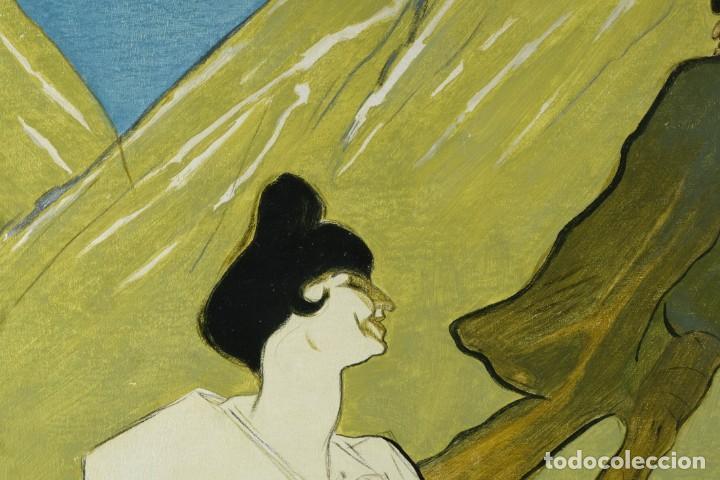 Arte: Óleo sobre táblex copia de un cuadro de Toulouse Lautrec ThéAâtre Antoine La Gitane de Richepin S.XX - Foto 3 - 137437002