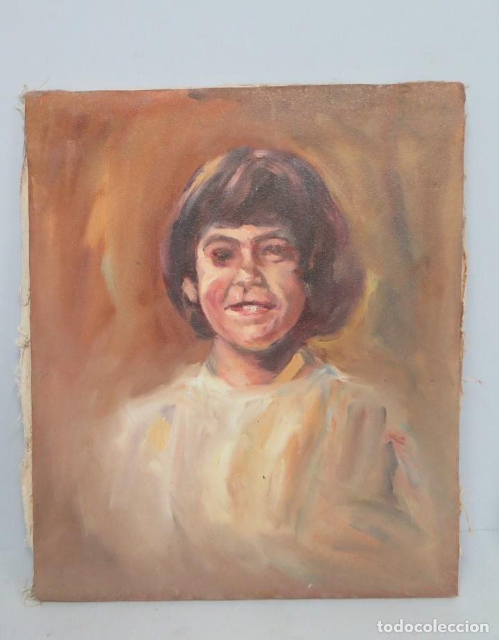 RETRATO DE NIÑA. OLEO S/ LIENZO. SEGUNDA MITAD SIGLO XX (Arte - Pintura - Pintura al Óleo Contemporánea )