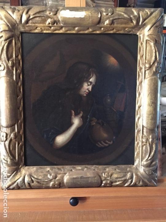 Arte: Seguidor de Godfried Schalken (Siglo XVIII) La Magdalena penitente/The Penitent Magdelen. Óleo sobre - Foto 3 - 129221540