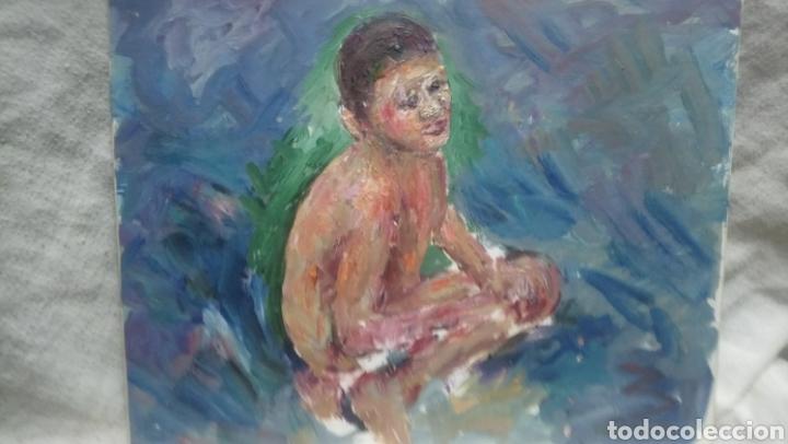 NIÑO EN LA PLAYA (GRAN CALIDAD) (Arte - Pintura - Pintura al Óleo Contemporánea )
