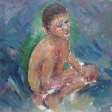 Arte: NIÑO EN LA PLAYA (GRAN CALIDAD). Lote 137498446