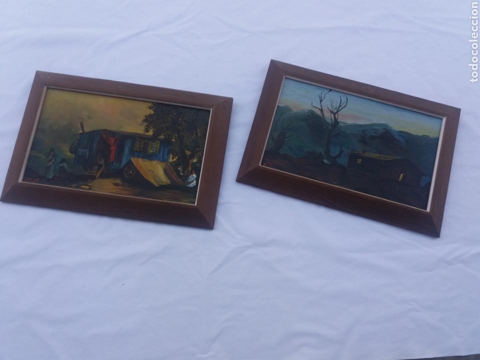 Arte: Pareja cuadro antiguo de pintura a mano sobre tabla firmados con marco madera Gitanos viajeros - Foto 2 - 137278185