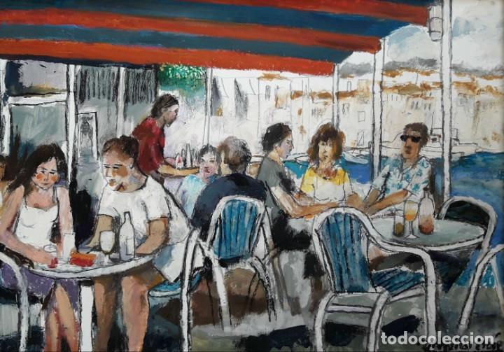 RAMÓN AGUILAR MORÉ - TERRAZA DE CADAQUÉS - ÓLEO (Arte - Pintura - Pintura al Óleo Contemporánea )