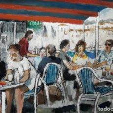 Arte: RAMÓN AGUILAR MORÉ - TERRAZA DE CADAQUÉS - ÓLEO. Lote 137536426