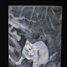 Arte: GATO, INESTABILIDAD, ÓLEO ORIGINAL. Lote 137536926