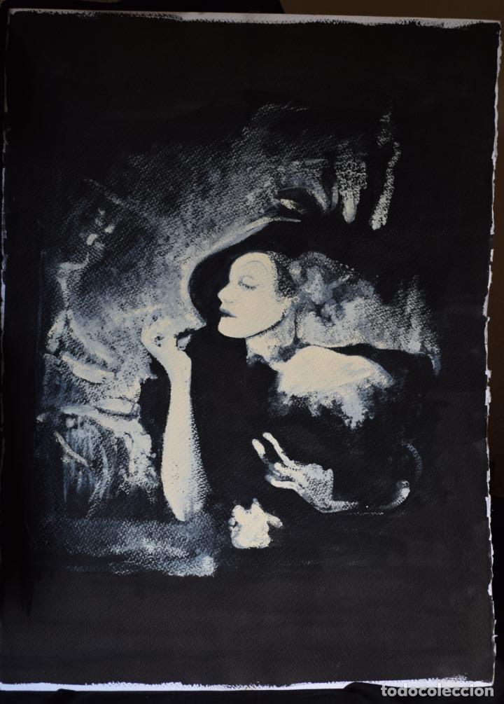 RETRATO MARLENE DIETRICH, TINTA CHINA Y TÉMPERA. (Arte - Pintura Directa del Autor)