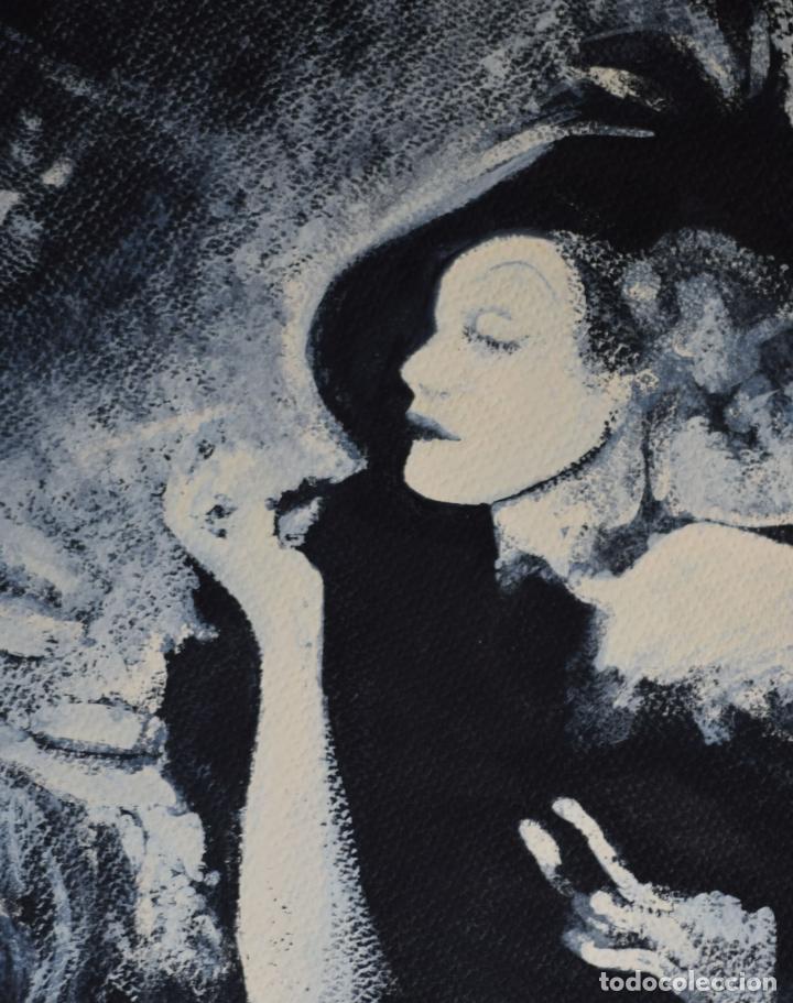 Arte: Retrato Marlene Dietrich, tinta china y témpera. - Foto 2 - 137538890