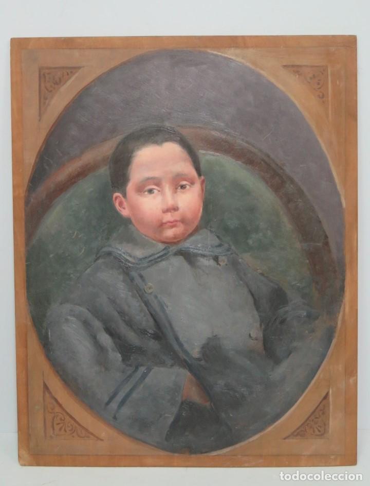 BONITO RETRATO DE NIÑO. OLEO S/ TABLA. A LA MANERA DEL SIGLO XIX (Arte - Pintura - Pintura al Óleo Contemporánea )