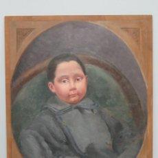 Arte: BONITO RETRATO DE NIÑO. OLEO S/ TABLA. A LA MANERA DEL SIGLO XIX. Lote 137546358